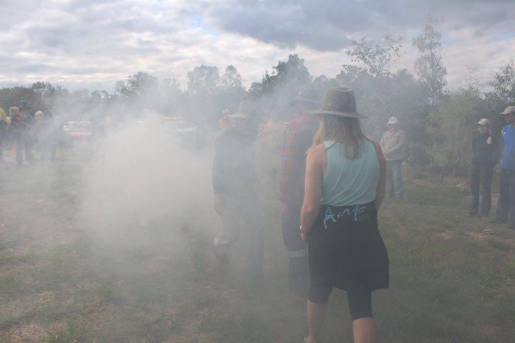 Illawarra Intrepid Landcare participate in a smoking ceremony before a cultural burn at Emu Plains NSW